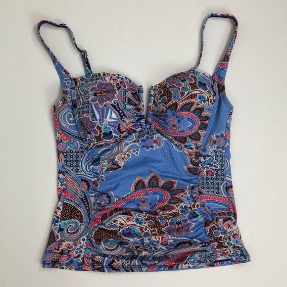 2e76df57af1a1d Liz Claiborne Swim | Nwot Floral Blue Tankini Top | Poshmark